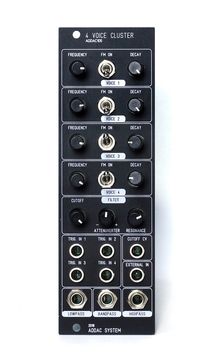 ADDAC System 4 Voice Cluster is a four voice square oscillator with several modulation options including a VCA, an FM switch and a slew decay for the incoming trigger input.