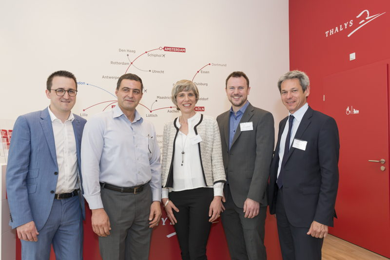 © Tomy Badurina<br/>From left to right: <br/>Sandro Löw - Corporate &amp; Strategic Affairs Delegate Director Thalys<br/>Abderrahman Elahmar - Operation Manager Germany (voyages-sncf Deutschland)<br/>Agnès Ogier- CEO Thalys<br/>Matthias Chaudeurge - Sales Executive France/Germany Thalys<br/>Bernard Fontenelle – Head of Sales Thalys