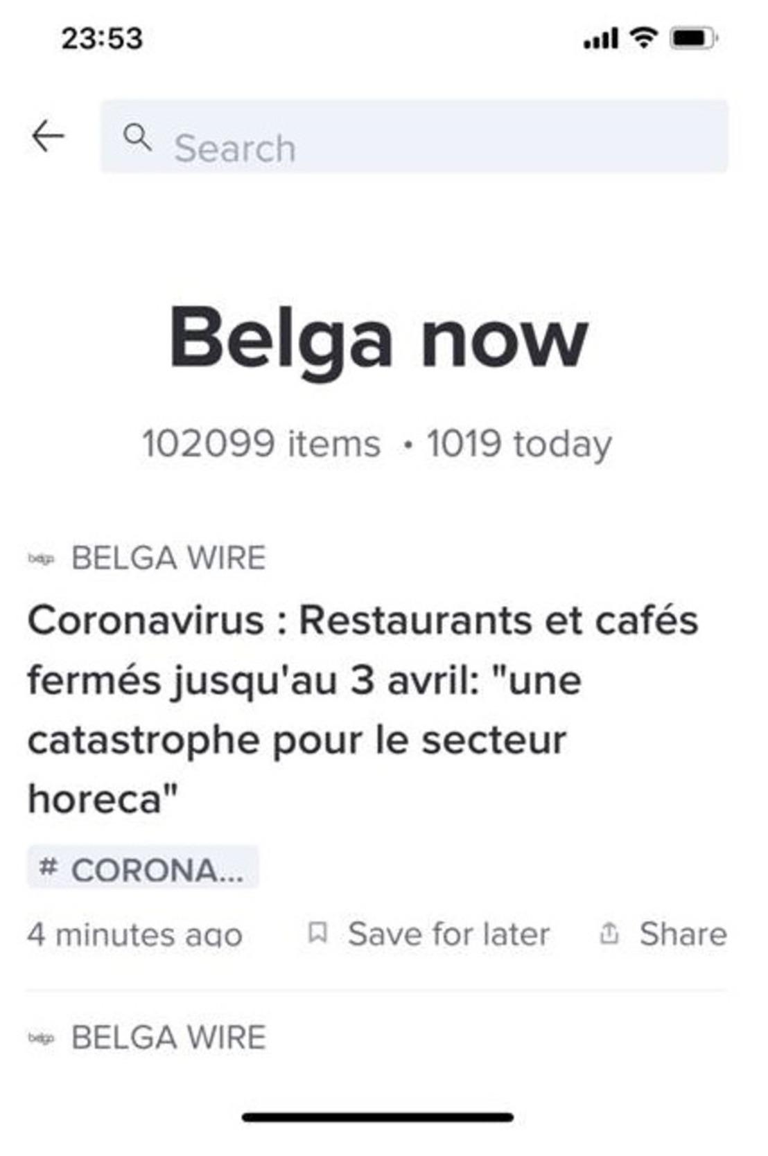 Belga et le Coronavirus