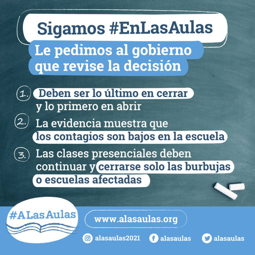 #ALasAulas solicita revisar la decisión de suspender las clases presenciales en el AMBA