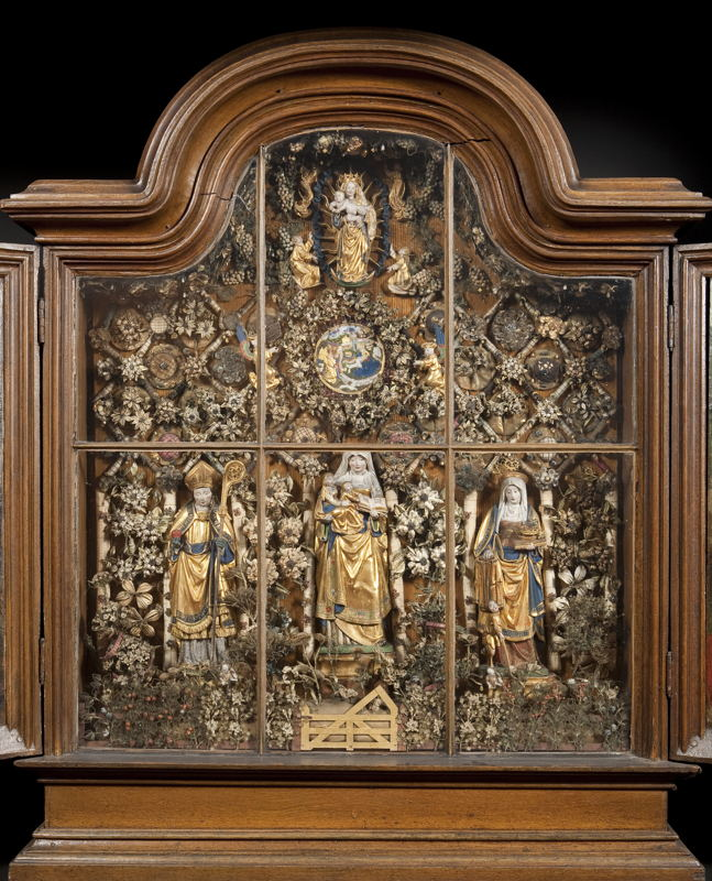 In Search of Utopia © Enclosed Garden with St Anne, the Virgin and Child, St Augustine and St Elizabeth, Mechelen, c. 1520 – 1550. Mechelen, Musea en Erfgoed Mechelen – Collection Gasthuiszusters.