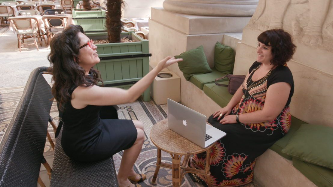 Annabel Crabb with co-author of the 'Le Monde Letter', Peggy Sastre