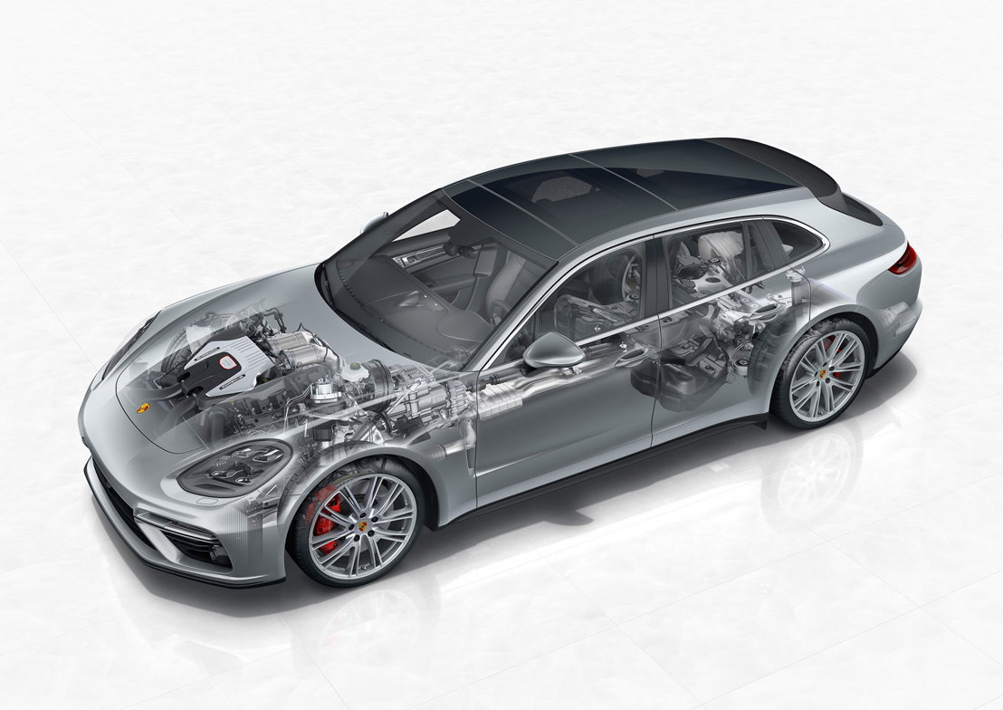 2017: Porsche Panamera Turbo Sport Turismo. PTM con embrague multidisco controlado hidráulicamente.